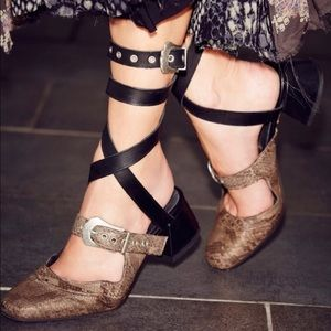 Free People Snake Wrap Around Buckle Mules